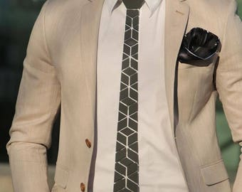 Dapper Black/Silver/Gold Tie - Hex Crystal Style ( Suit Accessories - NeckTie, Neck tie Emperador Sol Honeycomb Modern Geometric Hexagon)