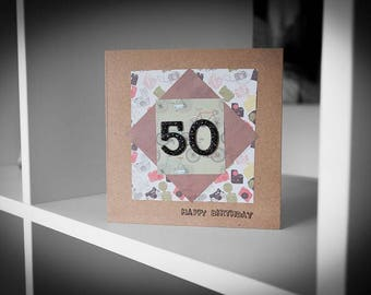 Paper Layered 50th Birthday Card