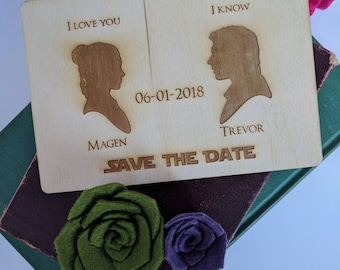 Wood Save the Date Card - Han and Leia { Star Wars, Jedi, The force be with you, Laser Engraved, Geek Wedding, Nerd Wedding }