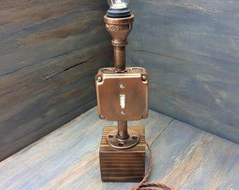 Distressed Copper Industrial Pipe Lamp, Industrial Lighting, Desk Lamp, Edison Lamp, Steampunk Lamp, Industrial, Rustic, Pipe Light