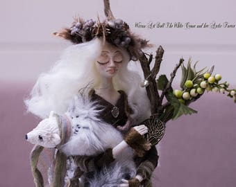 Wiccan Art Doll The White Crone and her Arctic Faerie Fox