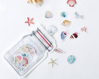 Seashell stickers, mermaid, beach, sea shells, summer stickers, travel journal, holiday diary, Planner Stickers, Bullet Journal Accessories