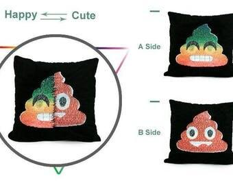 Sequin Emoji Reversible Poop Pillow