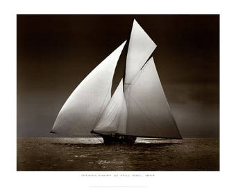 1895 Iverna Yacht at Full Sail Sailing Poster