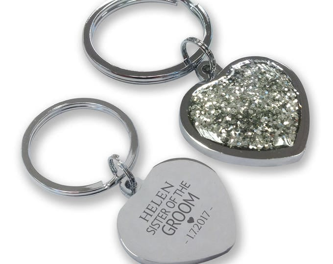 Personalised engraved SISTER of the GROOM wedding keyring gift, glittery bling heart shaped keyring - GHE-W9