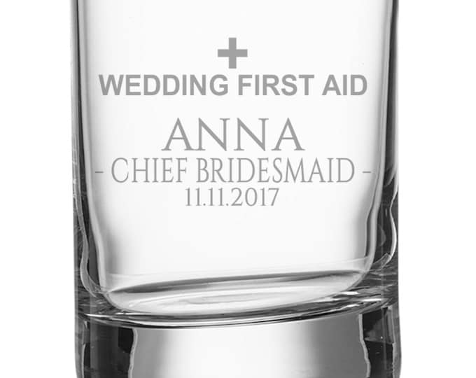 Engraved CHIEF BRIDESMAID shot glass, personalised glasse, wedding bomboniere wedding favours, wedding first aid - SH-WFA10