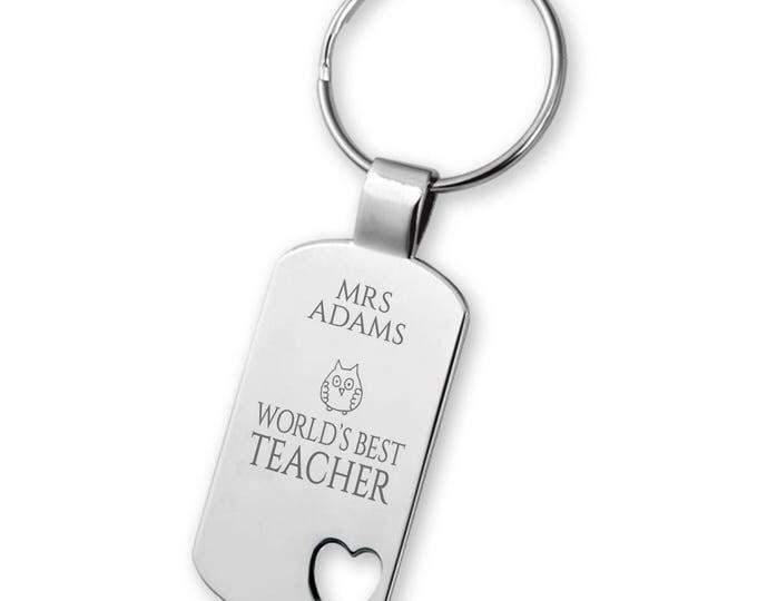 Engraved World's Best TEACHER keyring gift, heart cut out keyring, owl - 5583TEA1