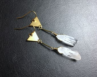brass earrings, triangle earrings, raw quartz earrings