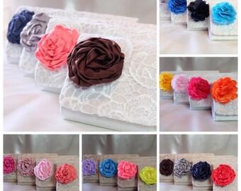 Custom Bags, Bridesmaid Clutch with Satin Flower,Bridesmaids Set,Floral Clutch, Bridesmaid Gift Ideas