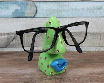 Optinoses green diamanté glasses holder