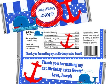 Digital Printable ~ ANY AGE ~ Nautical ~ Boy's Birthday Candy Bar Wrappers ~ Digital Printable!