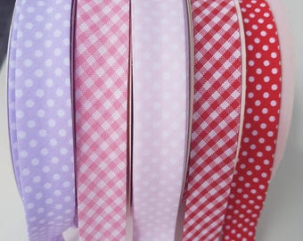 Red with White Spots Dots Bias Binding 18mm Tape