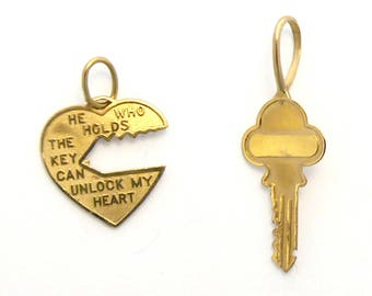 Vintage Sweethearts Jewelry, Heart Lock & Key, He Who Holds The Key Can Unlock My Heart, Set, 14k Yellow Gold