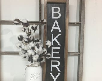 Kitchen Bakery Sign, Bakers Sign, Rustic Bakery Sign, Kitchen Signs, Farmhouse Decor, Farmhouse Signs, Black and White Sign, Kitchen Sign