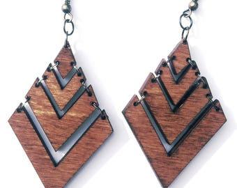 Rombus wood Earrings, wood Earrings, wood jewelry , brown jewelry ,  Earrings , rombus Earrings, jewelry , rombus wood