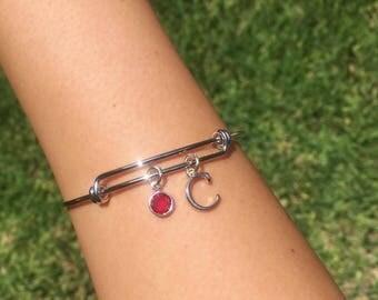 Customized Birthstone & Initial Silver Bangle Bracelet
