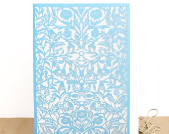 Blue acorn Papercut card, William Morris card, Morris pattern card, Morris design, Papercut card, Lasercut card, Intricate papercut cards