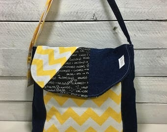 bag makeover, yellow chevron bag flap, math