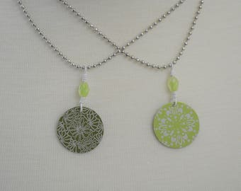 Green Etched Aluminum Necklaces