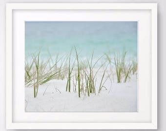 Beach Grass photo, beach art, nautical decor, summer wall decor, nature print, coastal art, large wall art, ocean photography