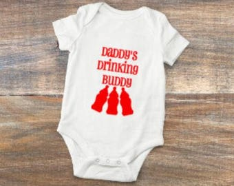 daddy's/drinking/buddy/funny/body suit/baby/gift/shower/bottles/beer