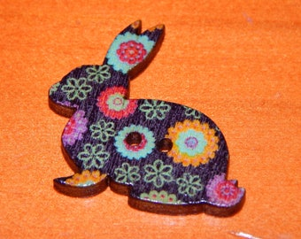 set of 2 colorful Bunny buttons