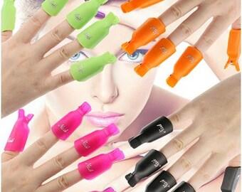 10 Pcs Plastic Acrylic Nail Art Soak Off Clip Cap