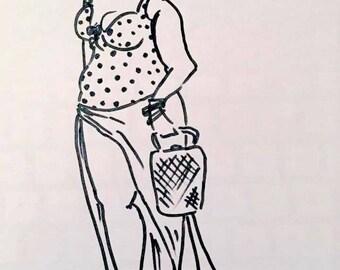Curvy Girl Vivian, Beach Bound, Fashionista B&W or Color art print (P1)