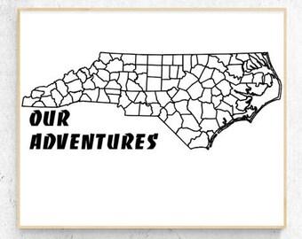 "North Carolina - Our Adventures Vinyl Decal (4.4"" x 11.5"")"