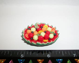 Dollhouse Miniature Handcrafted Watermelon Fruit Bowl Dessert Doll House Food 1229