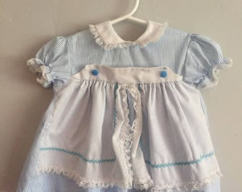 1980s Infant Girls Pinstriped Blue and White Dress with Attached Apron 12-18 Months