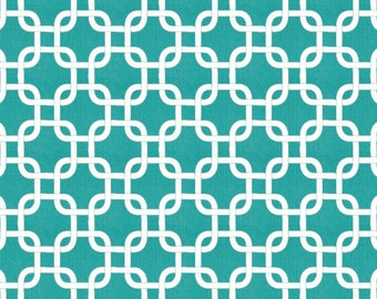 Teal Squares - Fabric By The Yard - Decor Cotton - Premier Prints (Gotcha - True Turquoise/White)