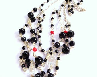 Silver Multiwire necklace with obsidian coral points and rock crystal