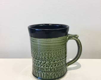 Green and black mug