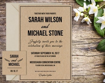 Classic Wedding with Setup, Rustic Wedding, Country Wedding, Printable Wedding, Invitation template, Wedding invitation
