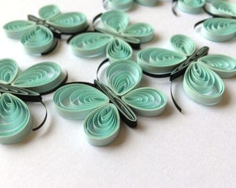Quilled Butterflies Paper Quilling Art Confetti Scatter Ornament Gifts Fillers Easter Mothers Day Baby Bridal Shower Wedding Blue Spring