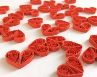 Quilled Hearts Paper Quilling Art Confetti Scatter Ornaments Gifts Fillers Valentines Mothers Day Baby Bridal Shower Wedding Red 1
