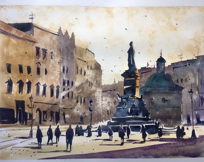 Krakow town center in watercolour