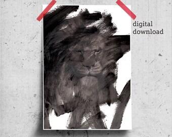 Black White Lion Printable, Brush Stroke Art Prints, Abstract Printable Art Gift Men, Lion Head, Black Art for Him, Lion Gifts for Men