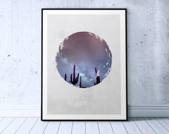 Starry Sky Print, Relaxation Art, Dark Blue Wall Art, Night Sky Art Print Dark Blue Printable, Starry Night Print Nordic Poster Circle Photo
