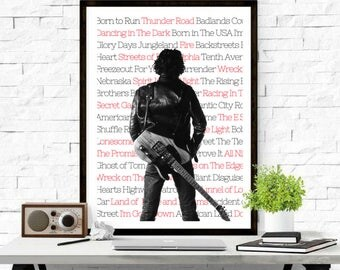 Bruce Springsteen, The Boss, Music Poster, Dancing In The Dark, Rock and Roll, Song Art, Print, Typography, Wall Art, Home Decor, Lyrics