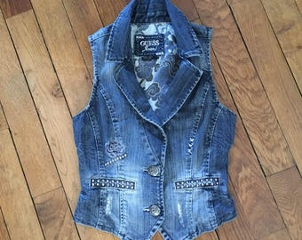 Vintage 1980s sleeveless denim jacket / 90's Guess Jeans, size S (34/36)