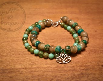 Lotus Charm, Double-Stranded Bracelet