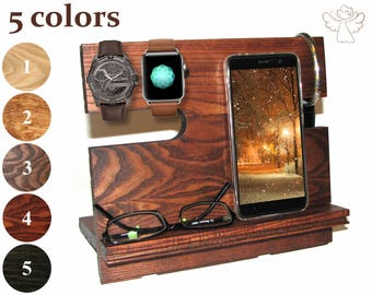 ipad stand wood Docking station wood iPhone stand wood Charging dock iPhone holder Charging station organizer Apple watch stand iWatch dock
