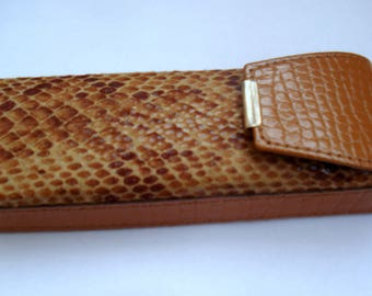 Vintage Eyeglasses Case/Glasses Accessory/Sunglass Leather Case/ Brown Leather Case /1980s