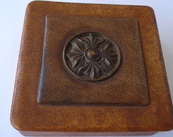 Vintage Leather Jewelry Box/ Old Brown Leather Box/1970s