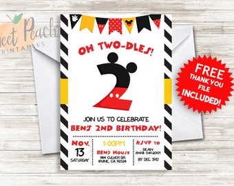 Oh Two-dles! 2nd Birthday Invite 5x7 Digital Personalized Mickey Second Birthday Invitation, Mickey Ears
