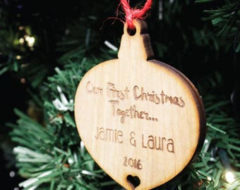 Personalised Couples Christmas Tree Decoration | Wooden Engraved 1st Bauble Gift