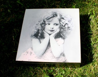 wooden box girl in sepia, casket with girl , keepsake box, jewerly storage, wooden box