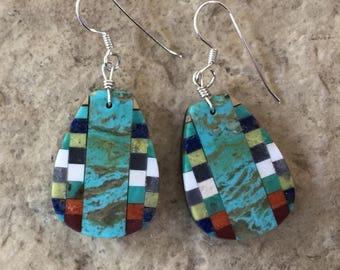 Native American Indian Turquoise Jewelry Santo Domingo Mosaic Inlay Multi Stone, Turquoise, Lightweight Dangle Earrings - Rudy & Mary Coriz